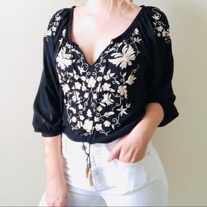Lucky Brand black embroidered blouse - MEDIUM